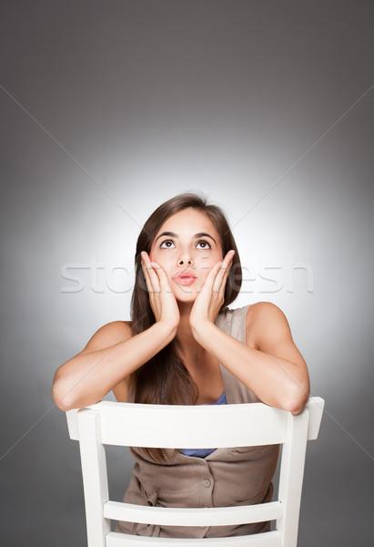 Kifejező aranyos fiatal barna hajú portré nő Stock fotó © lithian