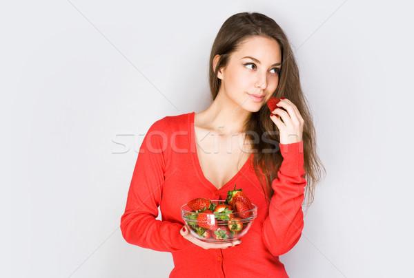 Pondering strawberry brunette. Stock photo © lithian