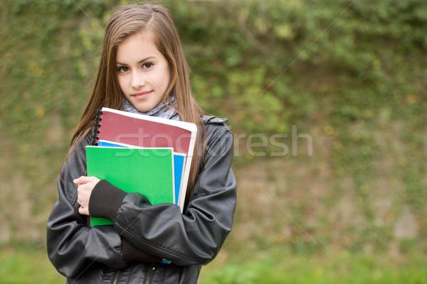Stock fotó: Friss · fiatal · diák · lány · park · portré