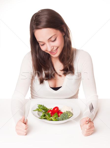 Dieta dilemma ritratto bella giovani bruna Foto d'archivio © lithian