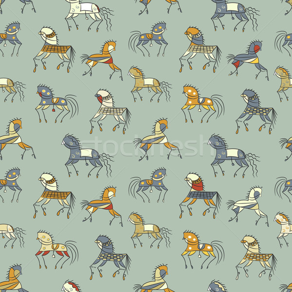 ethnics horse galloping. colored seamless texture. used as fill pattern, backdrop, wallpaper, patter Stock photo © LittleCuckoo