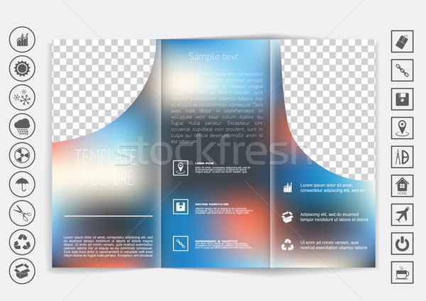 Tri-Fold Brochure mock up vector design. Smooth unfocused bokeh background.  Stock photo © LittleCuckoo