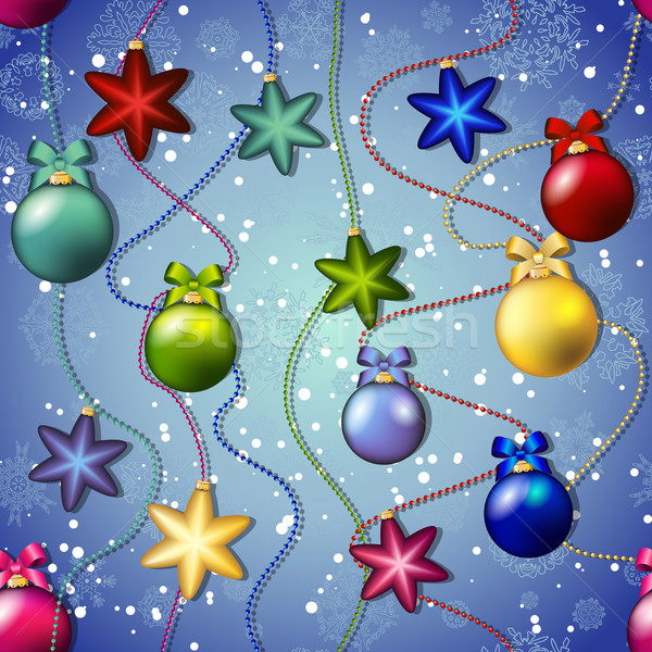 New year pattern with Christmas tree toys. Ball and star. Beads garland Stock photo © LittleCuckoo