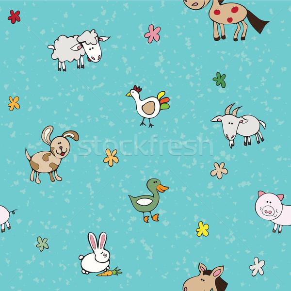 бесшовный текстуры сельскохозяйственных животных цветы синий бирюзовый Сток-фото © LittleCuckoo