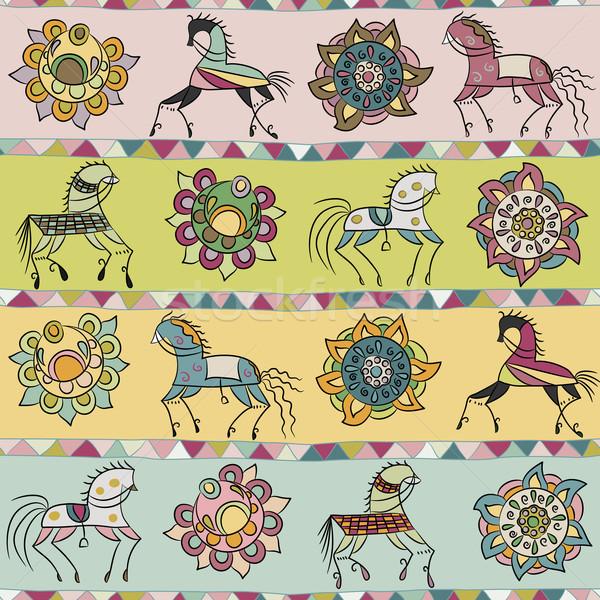 シームレス 馬 花 三角形 パターン テクスチャ ストックフォト © LittleCuckoo