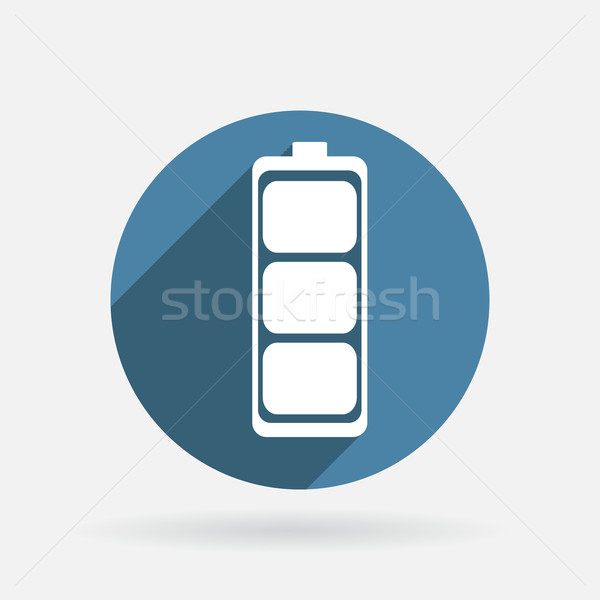 charged battery. Circle blue icon with shadow. Stock photo © LittleCuckoo