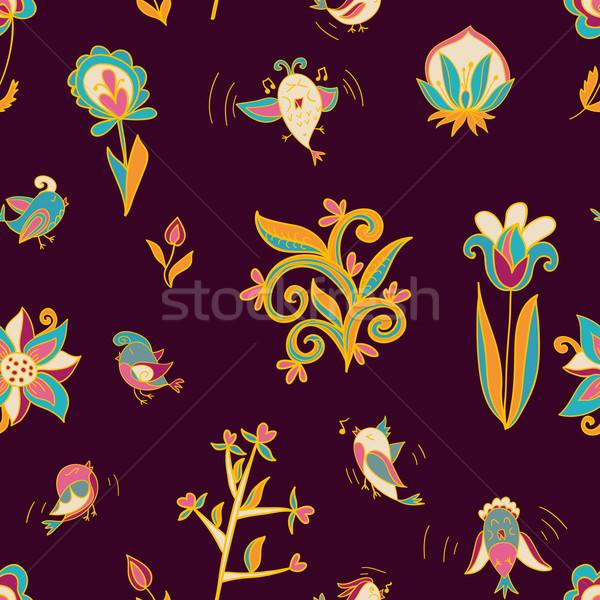 Flores aves sem costura textura padrão Foto stock © LittleCuckoo
