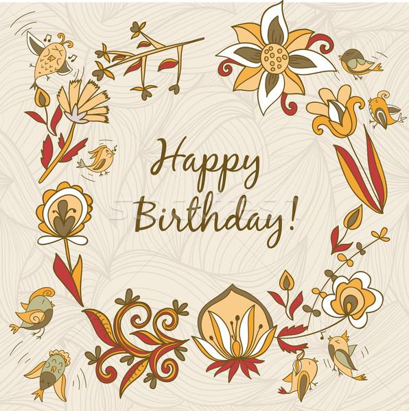 happy birthday greeting card. circle floral frame  Stock photo © LittleCuckoo