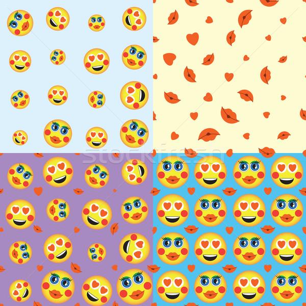 emoji. emoticons smile icon set. vector seamless pattern. funny illustration  Stock photo © LittleCuckoo