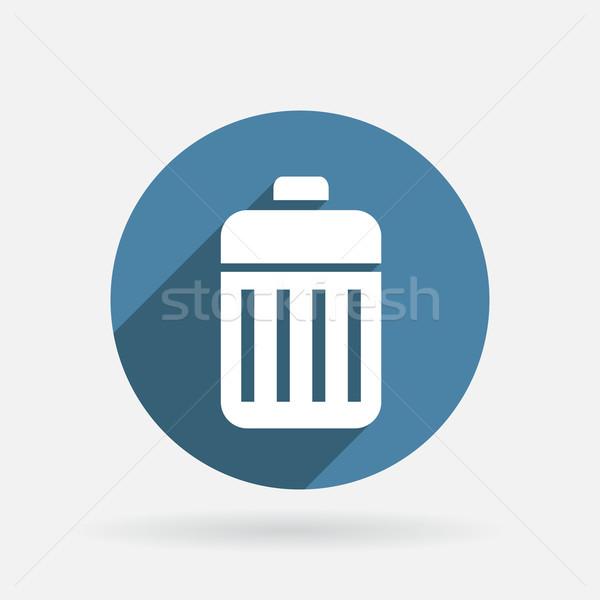 Basket garbage cerchio blu icona ombra Foto d'archivio © LittleCuckoo