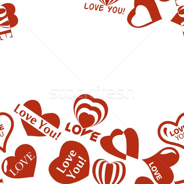 Szív minta valentin nap végtelenített keret keret Stock fotó © LittleCuckoo