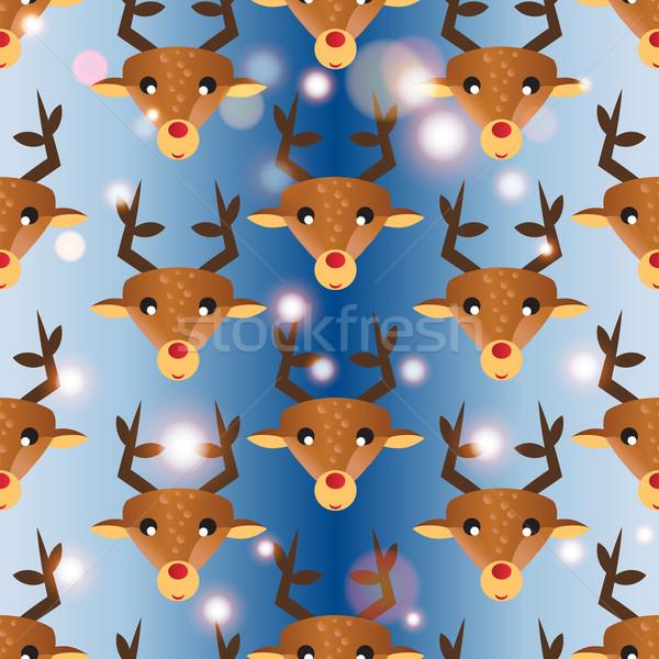 ストックフォト: 鹿 · 頭 · テクスチャ · 自然 · 冬