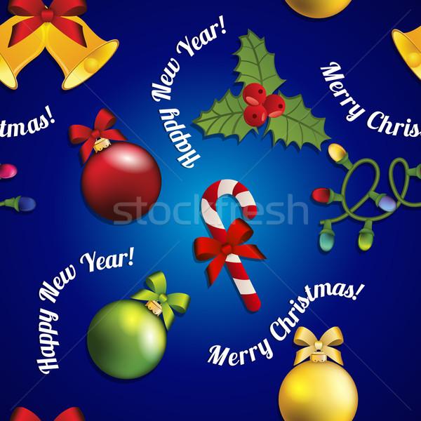 Nouvelle année modèle arbre de noël jouet gui bonbons Photo stock © LittleCuckoo