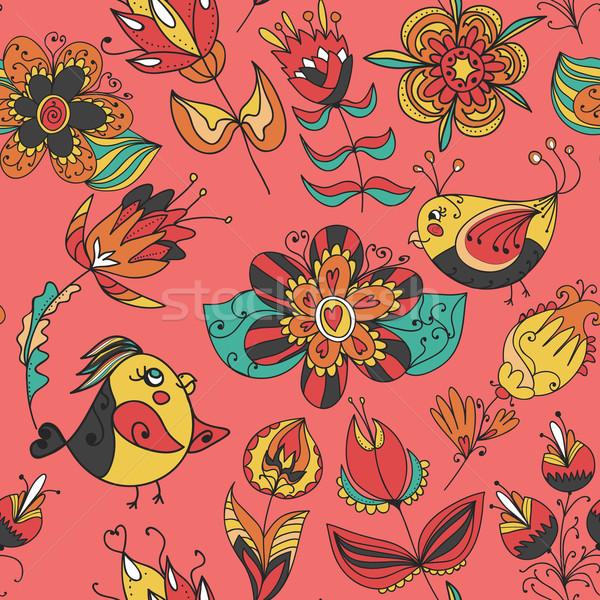 çiçekler kuşlar doku model sonsuz Stok fotoğraf © LittleCuckoo