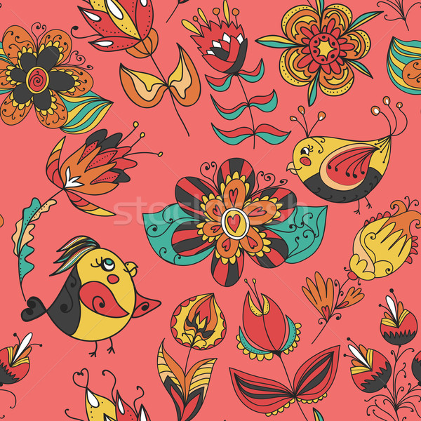 flowers and birds seamless texture pattern Stock photo © LittleCuckoo