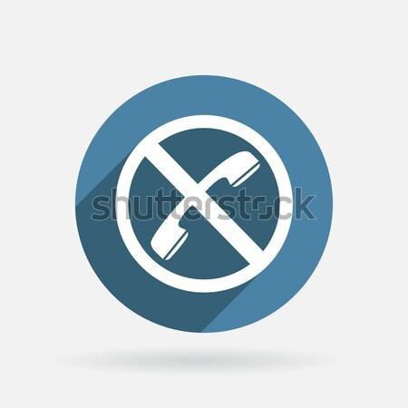 Interdit téléphone cercle bleu icône ombre Photo stock © LittleCuckoo
