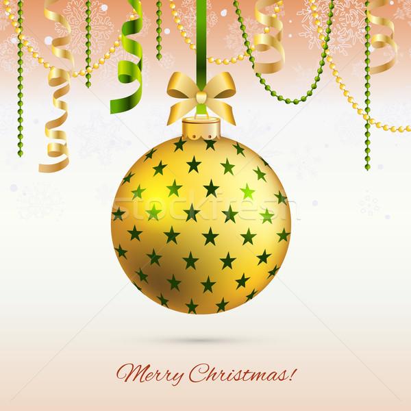 Nieuwjaar wenskaart christmas bal boeg lint Stockfoto © LittleCuckoo