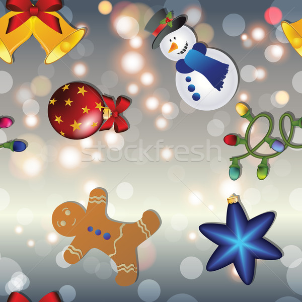 New year pattern with snowman, gingerbread man, bell, garland and Christmas tree toy Stock photo © LittleCuckoo