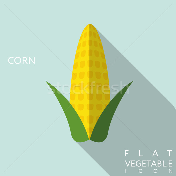 corn flat icon illustration with long shadow Stock photo © LittleCuckoo