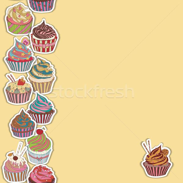 Сток-фото: шаблон · границе · бесшовный · сладкие · блюда · текстуры