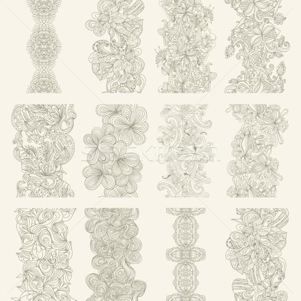 Ingesteld abstract naadloos grens circuit patroon Stockfoto © LittleCuckoo