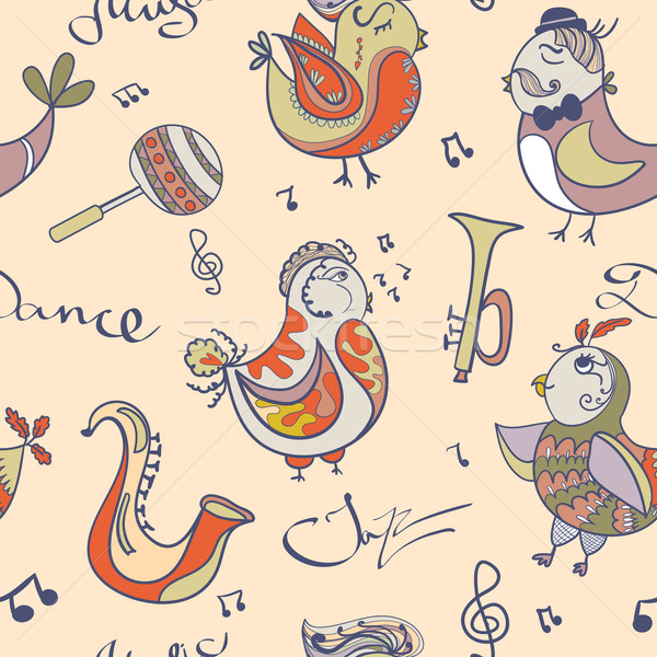 Jazz wallpaper aves cantar baile Cartoon Foto stock © LittleCuckoo