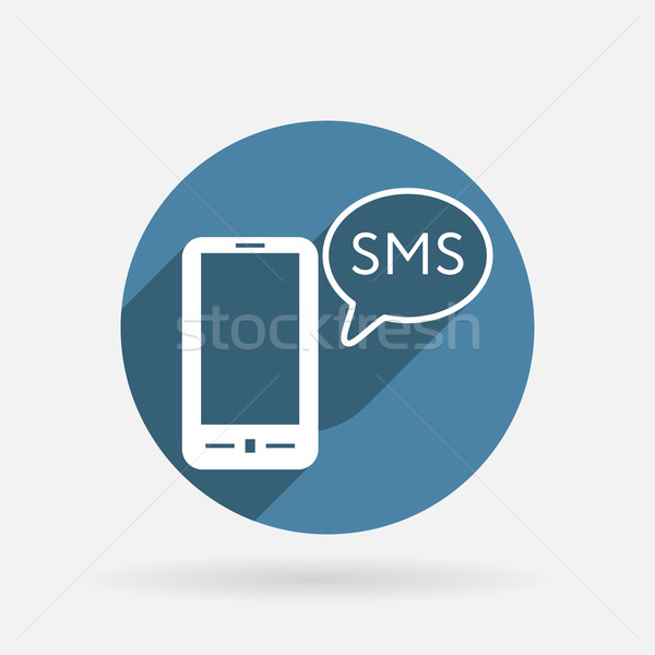 Smartphone nuage sms dialogue symbole cercle Photo stock © LittleCuckoo