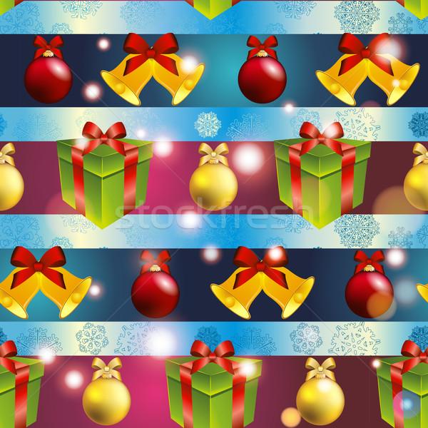 Ano novo padrão árvore brinquedos dom natal Foto stock © LittleCuckoo