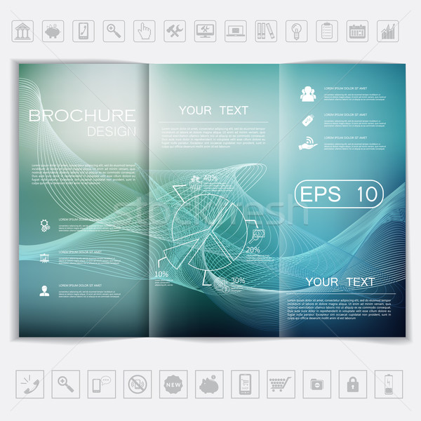 Tri-Fold Brochure mock up vector design. Smooth unfocused bokeh background with waves.  Stock photo © LittleCuckoo
