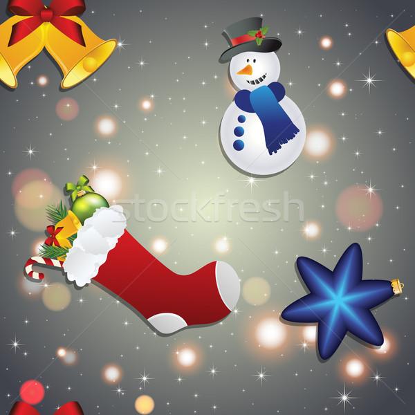 Año nuevo patrón muñeco de nieve calcetín regalos campana Foto stock © LittleCuckoo