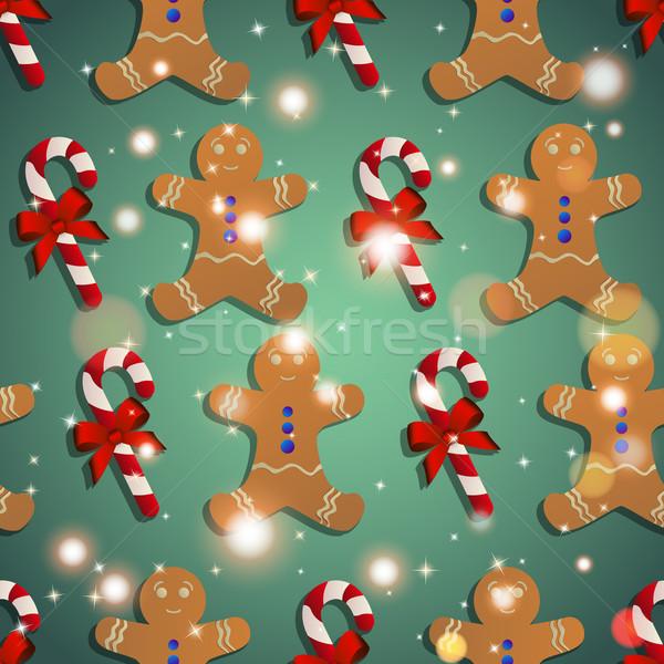 Новый год шаблон Колобок конфеты полосатый bokeh Сток-фото © LittleCuckoo