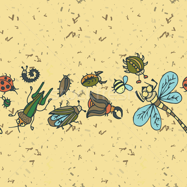 Bonitinho desenho animado inseto fronteira padrão verão Foto stock © LittleCuckoo