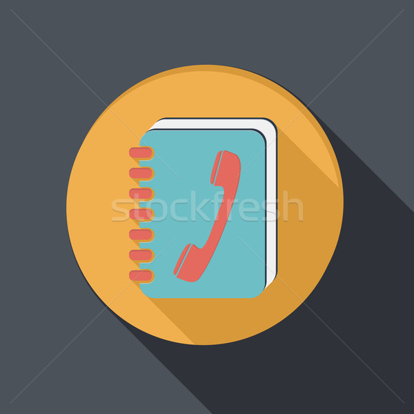 flat icon with a shadow, phone address book Stock photo © LittleCuckoo