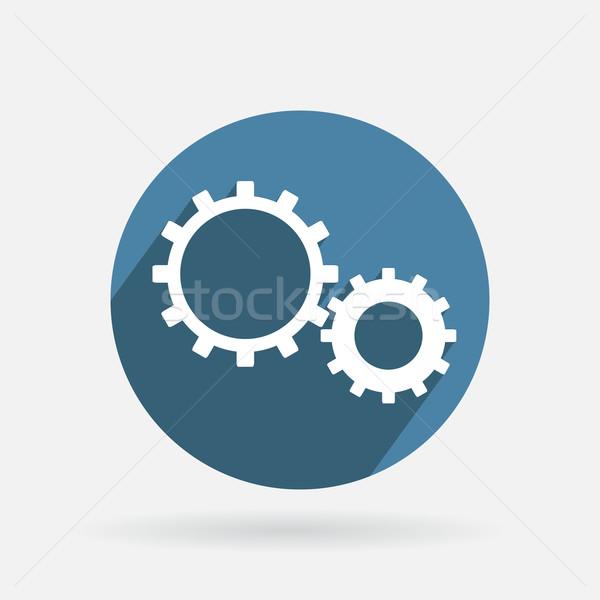 Kör kék ikon szimbólum beállítások fogaskerék Stock fotó © LittleCuckoo