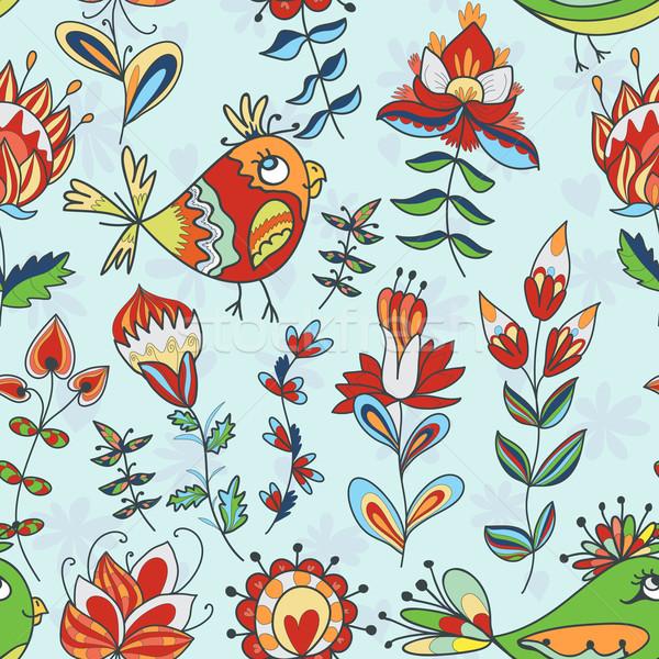 Végtelenített textúra virágok madarak végtelen virágmintás Stock fotó © LittleCuckoo