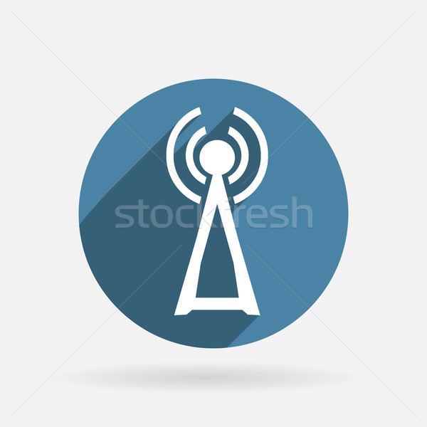 tower of the wi fi. Circle blue icon with shadow Stock photo © LittleCuckoo