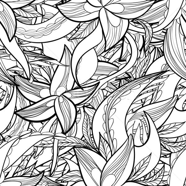 hand-drawn floral abstract seamless pattern, monochrome background Stock photo © LittleCuckoo