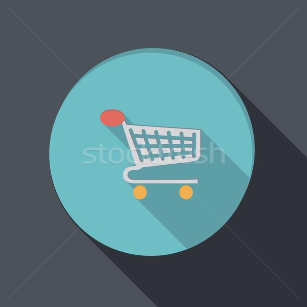 Papír ikon kosár online bolt árnyék internet Stock fotó © LittleCuckoo