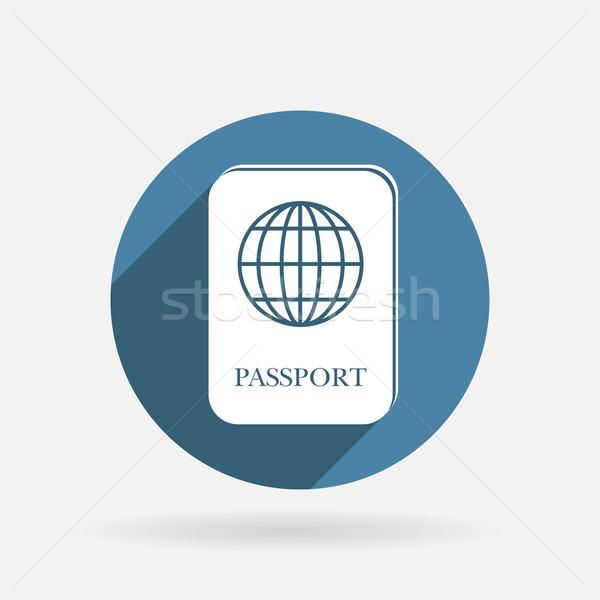 Internacional pasaporte círculo azul icono sombra Foto stock © LittleCuckoo