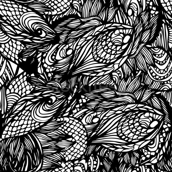 Abstrato sem costura padrão monocromático floral ondulado Foto stock © LittleCuckoo