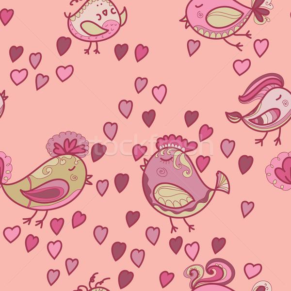 Foto stock: Valentine · padrão · corações · aves · textura · sorrir