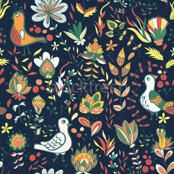 Seamless floral pattern with birds and flowers Stock photo © LittleCuckoo