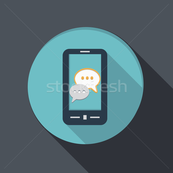 smartphone with cloud of speaking dialogue Stock photo © LittleCuckoo