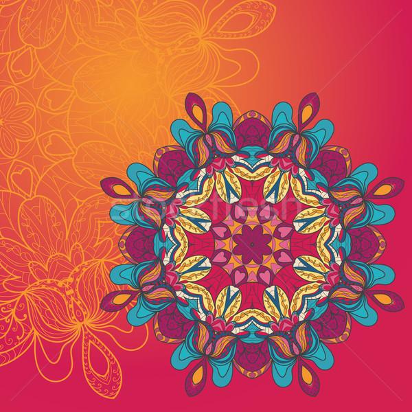 Circle lace hand-drawn ornament card Stock photo © LittleCuckoo