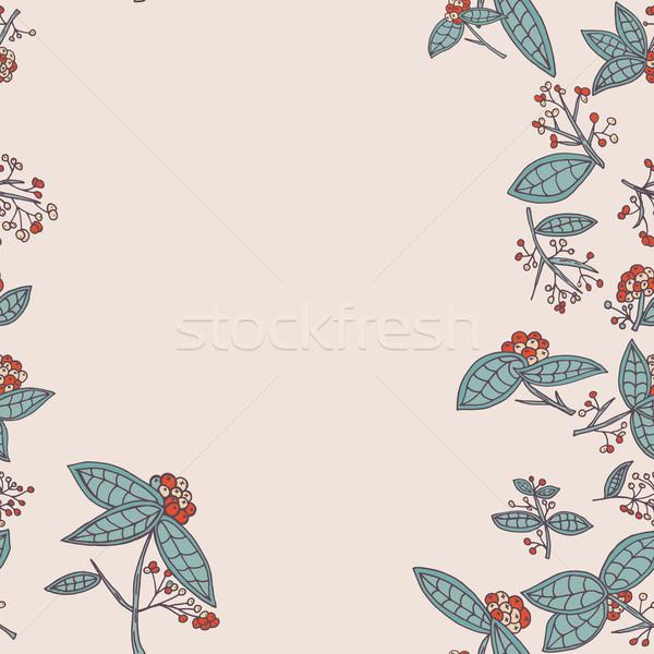 Vetor fronteira padrão folhas Foto stock © LittleCuckoo