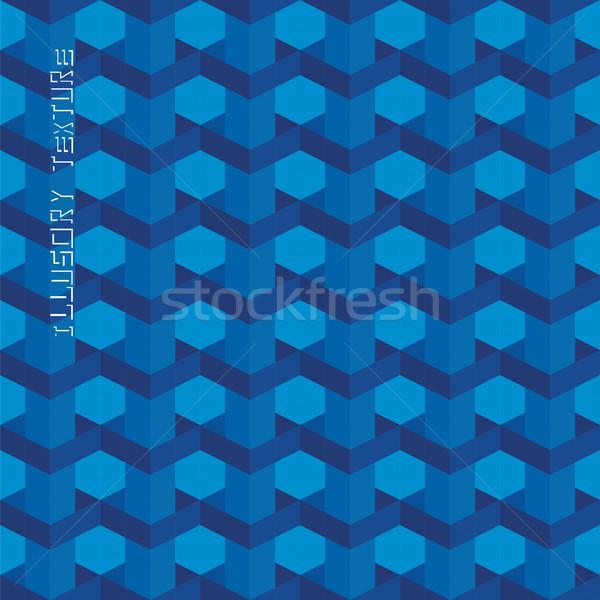 Hacim etki soyut mavi geometrik Stok fotoğraf © LittleCuckoo