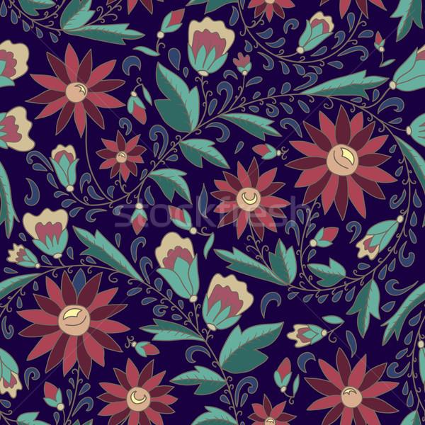 Floral ornamento azul vermelho flor folhas verdes Foto stock © LittleCuckoo
