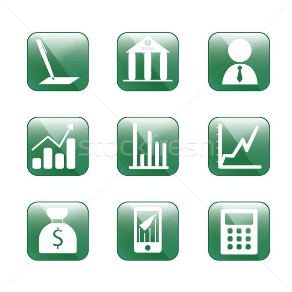 金融 緑 ガラス スタイル アイコン Webデザイン ストックフォト © LittleCuckoo