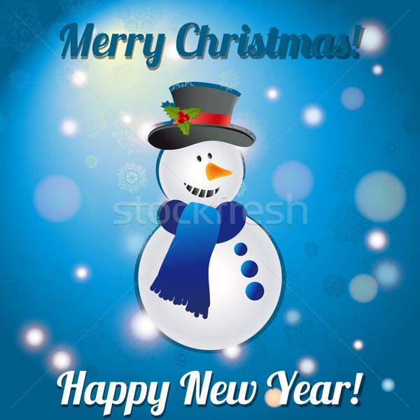 Natale pupazzo di neve biglietto d'auguri complimenti bokeh lucido Foto d'archivio © LittleCuckoo