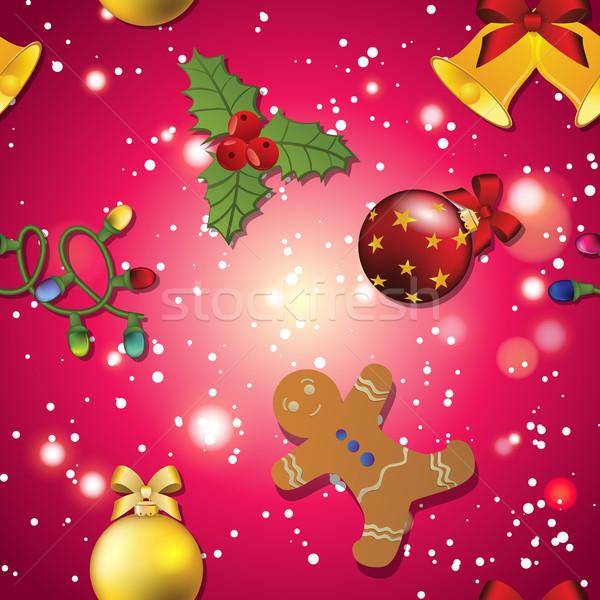Nieuwjaar patroon gingerbread man maretak guirlande christmas Stockfoto © LittleCuckoo